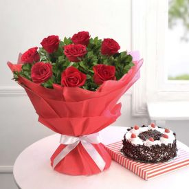 10 Red Rose and 1/2 kg Black Forest